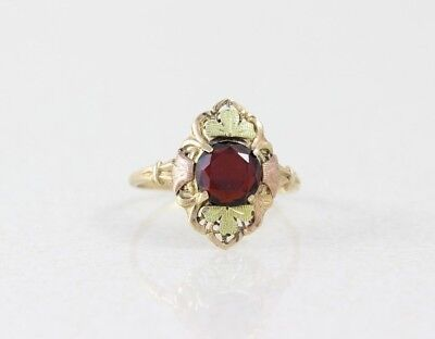 10k Yellow Gold Garnet Ring with Green and Rose Gold Accents Antique Size 7 1/4