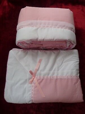 Baby Crib Bumper & Comforter Set by Baby Bassinets Corp. ~ Pink and White - 1770