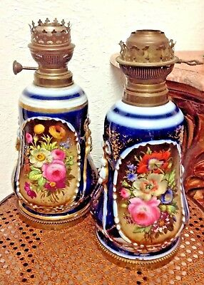 Rare Pair Antique 19th C. French Old Paris Porcelain Hand-painted Oil Lamp Bases