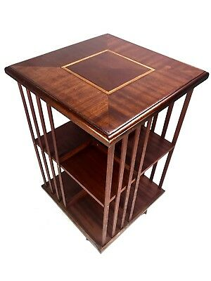 Vintage Edwardian Style Rotating Book Shelf / Rack With Inlay / Display Case