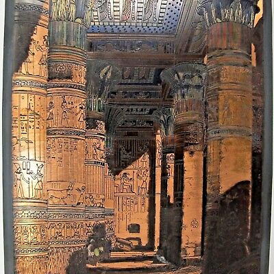 "Handmade Engraved Vintage WALL COPPER PLATE EGYPTIAN PHILAE TEMPLE DECOR 11""x 8"