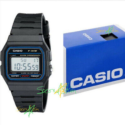 Casio F-91-W-1 Men's Resin Band Water Resistant Alarm Chronograph Digital Watch