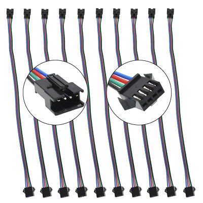 10X JST SM 4Pin Connector Cable Male-Female for RGB WS2801 6803 LED Strip light
