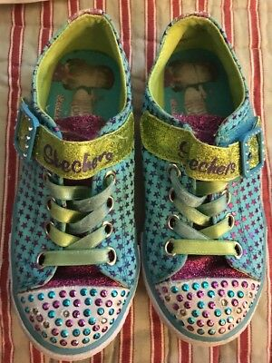 5aea3976db53 Little Girls Skechers Twinkle Toes Shoes Sneakers Sparkle Light Up Size 12.5