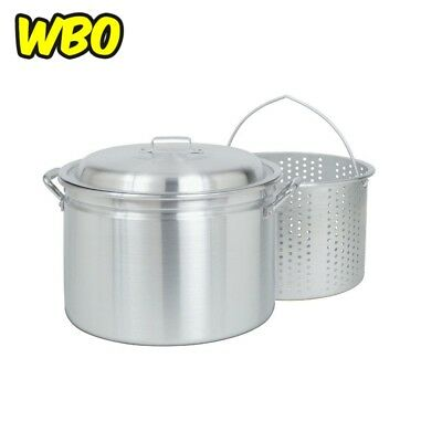 ALUMINUM STOCK POT 24 Qt Basket Large 1/2 in Perforated Holes Side Indentation