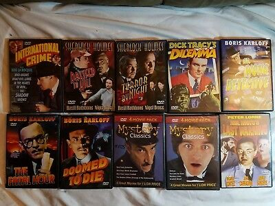 Lot of 10 Classic Mystery Detective DVDs 16 Films Total!!! Dick Tracy Sherlock