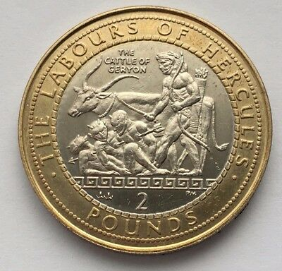 2000 Gibraltar The Labours Of Hercules Geryon's Cattle 2 Pounds Bi-Metallic Coin