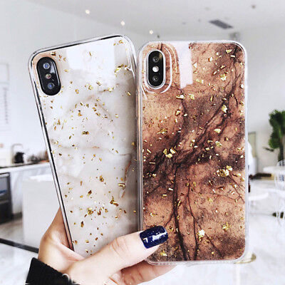 Luxury Gold Foil Bling Marble Phone Case For iPhone XS 8 7Plus TPU Glitter Cover
