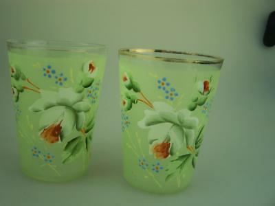 Two Edwardian era c1900 drinking glasses with hand painted enamelling