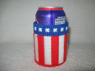 2 Red White & Blue Soda Beer Can Bottle Koozies Handmade Plastic Canvas