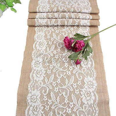 Rustic Burlap Lace Hessian Table Runner Wedding Banquet Party Home Table Decor