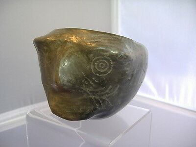 Pre Columbian Man Jaguar Head Pottery Bowl