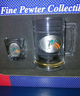 """New Miami Dolphins NFL Clear Glass Beer Mug/Pewter and chut glass 5.25"""" Tall"""
