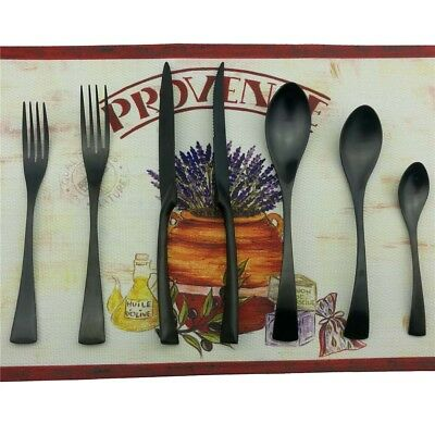 7-Piece High quality 18/10 Stainless Steel Flatware and Cutlery Set Black Matte