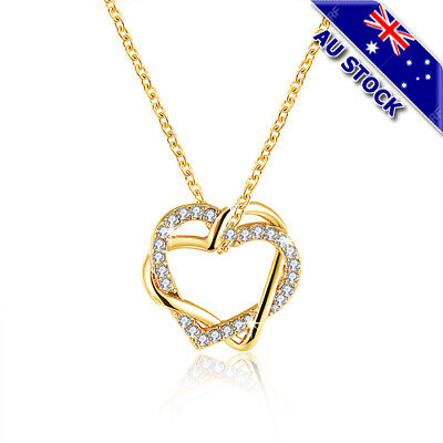18K Yellow Gold Filled Clear Zirconia Crystal Hollow Love Heart Pendant Necklace