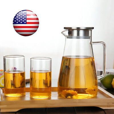 Clear Glass Pitcher with Lid Cap Home Kitchen Water Milk Fruit Juice Jug Carafe