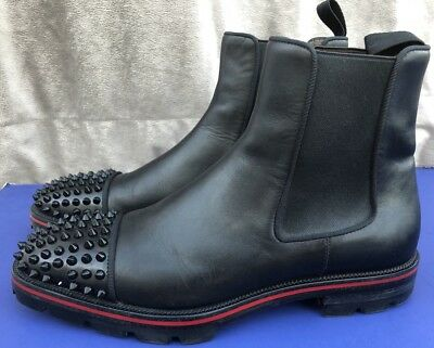 the latest 13272 ba1a9 CHRISTIAN LOUBOUTIN MELON Spikes Black Men's Leather Chelsea Shoes Sz 7/40  $1495