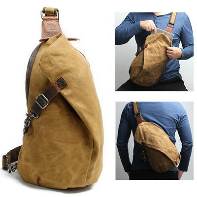Men Canvas Genuine Leather Chest Bag Crossbody Messenger Pack School  Backpack 820f85a29c