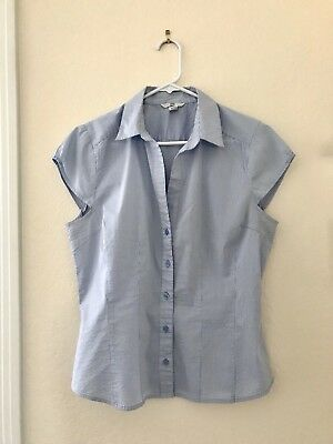 1bcd5f9203 H&M Womens Button Down Cap Sleeve Shirt Blouse Top Light Blue Striped Size  14