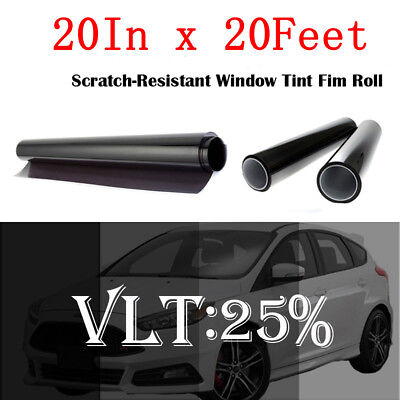 50cm x 6M Black Glass Window Tint Shade Film VLT 25% Auto Car House Roll New