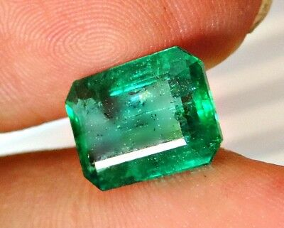 4.22 CT Natural Zambia Lustrous Green Emerald Cut Certified For Engagement Ring