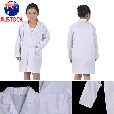 White Kid Lab Coat Doctor Hospital Scientist School Fancy Dress Costume Children