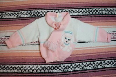 Vintage Baby Girl Poodle Scarf Sweater Cardigan Pink White Size 12 Months Cute