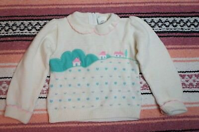 Vintage Toddler Girl Sweater Home Tulips Peter Pan Size 3T