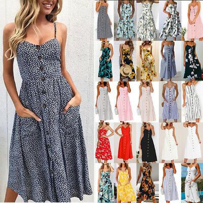 AU Womens Holiday Strappy Buttons Pocket Ladies Summer Beach Midi Swing Sundress