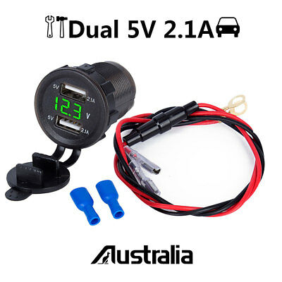 5V 4.2A Dual USB Charger Socket Adapter Power Outlet 2.1A 12V 24V Motorcycle Car