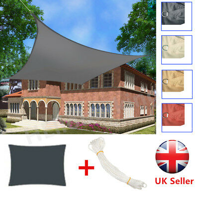 Sun Shade Sail Garden Patio Sunscreen Awning Canopy Screen 98% UV Block + Ropes