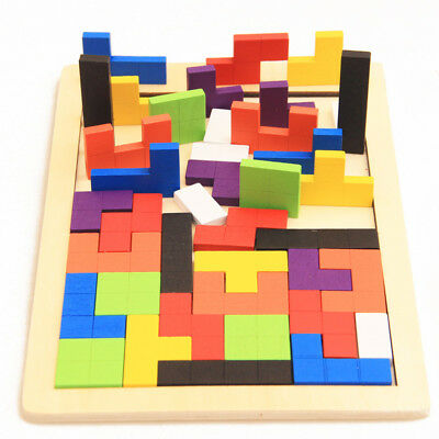 Wooden Tetris Game Jigsaw Puzzles Children Kids Educational Intellectual Toy