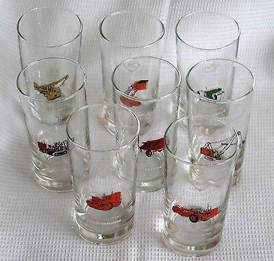 Vintage Libbey Safedge 50's Set 8 Dealer Promo Glass Construction Equipment New!
