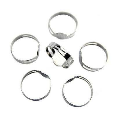 100Pcs 16mm Adjustable Flat Pad Ring Bases DIY Blank Findings Jewelry Making