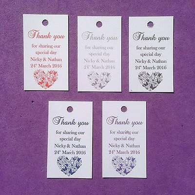30 x Personalised Wedding Thank you Favour Tags, Christening, Hen, Gift Tags