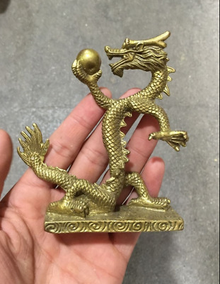 Rare Collectibles Old Decorated Handwork Bronze Carving Dragon Wonderful Statue