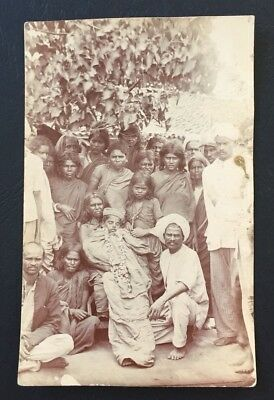 Vintage Postcard Sikh Funeral Party Dead Body of Boy Real Photo India Village RP