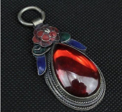 China Tibet-silver handwork inlay Red Zircon old cloisonne red flower pendant