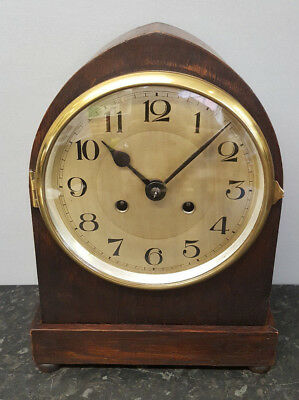 Vintage Lancet Top Bracket Clock with Strike