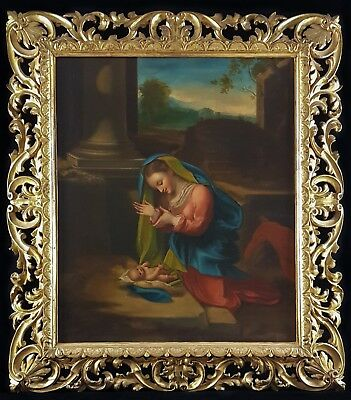 HUGE Fine 18th Century Adoration of the Child Baby Madonna Antique Oil Painting
