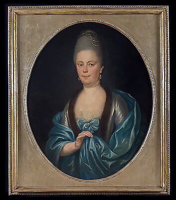 Large 18th Century Old Portrait of a Lady Pearls Realism Antique Oil Painting