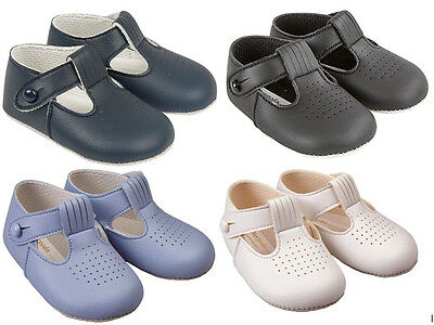 New Baby Shoes Pram Baypods christening traditional T-Bar Early Days Boys 625