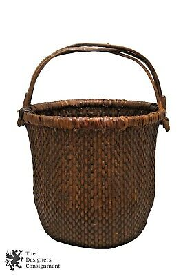 "Antique Traditional Handwoven Rattan Chinese Oval Handled Rice Basket 15"" Willow"