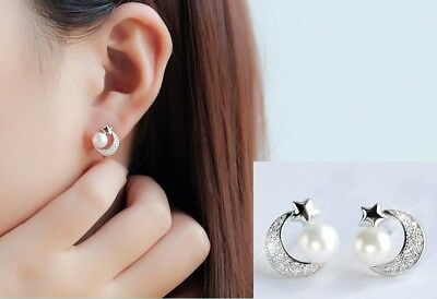 Fashion Women Sterling silver Plated Moon Star Pearl micro pave Stud Earrings