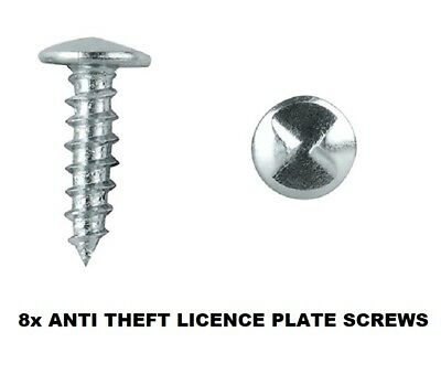 Anti-Theft Licence Rego Number Plate Screws - One Way Screws (8 Pack)