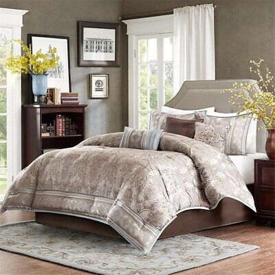 Luxury 7pc Taupe Grey & Beige Geometric Comforter Set AND Decorative Pillows
