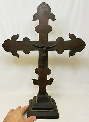 Very Early Antique Byzantine Bronze or Copper Cross Crucifix