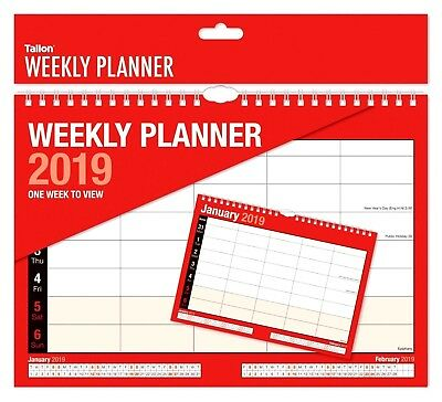 2019 Weekly Planner Calendar One Week to View Spiral Bound Organiser-WH2-R5D NEW