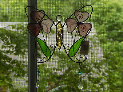 Stained Glass Colorful Butterfly Hanging Sun Catcher Pink/green Nwt