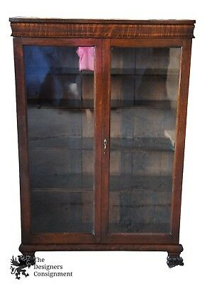 Antique Empire Quarter Sawn Oak Carved Curio Bookcase Display Cabinet Paw Foot